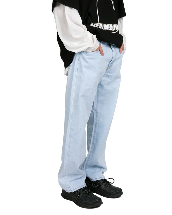 Light Blue Wash Wide Denim Pants